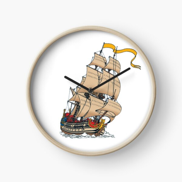Sailing ship La Licorne, color picture Clock