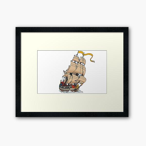 Navire à voile La Licorne en couleur Impression encadrée