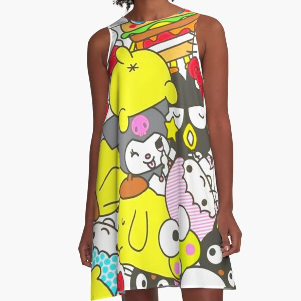 I love animals, especially yellow dogs, white cats, and green frogs A-Line Dress