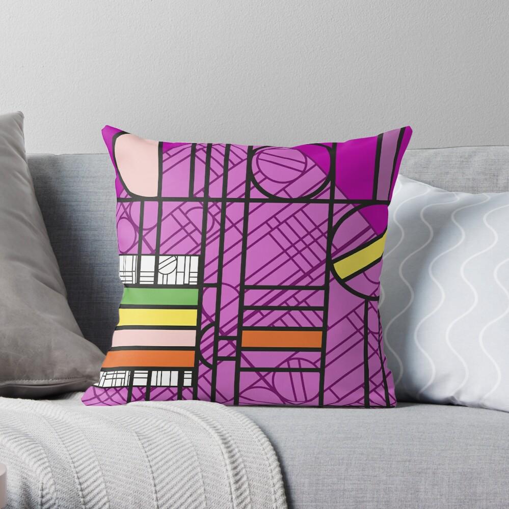 Circular Blockwork Throw Pillow