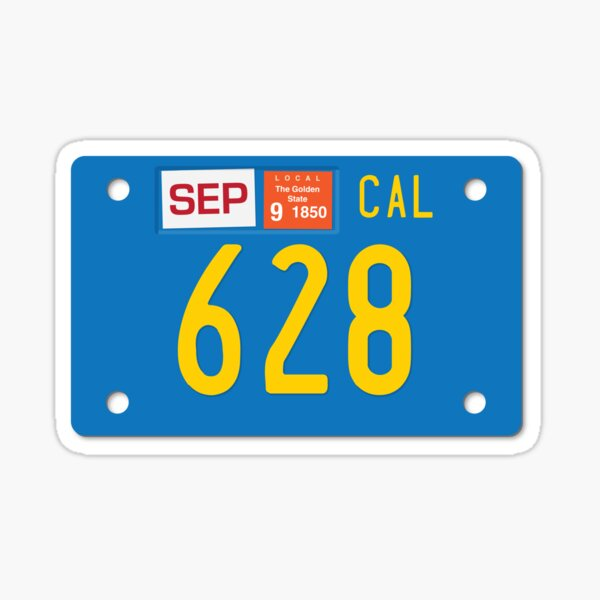 California Motorcycle License Plate 628 (Area Code 628) Sticker