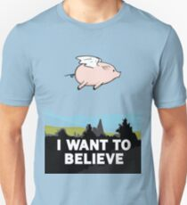The X-Files: I Want to Believe Poster Flying Pig Spoof Unisex T-Shirt