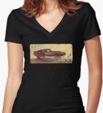 Vintage Look AMC Javelin Trans-Am Pony Car Women's Fitted V-Neck T-Shirt