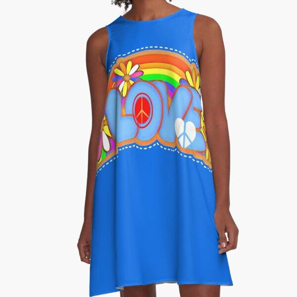 Love Retro Peace Sign Hippy Art A-Line Dress
