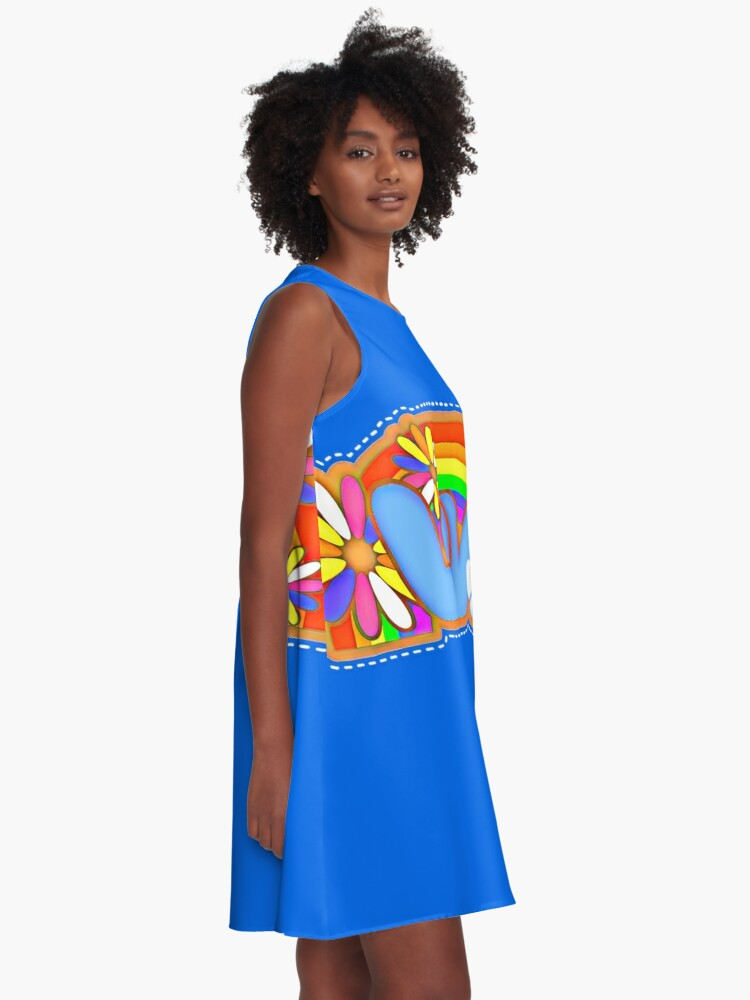 Alternate view of Love Retro Peace Sign Hippy Art A-Line Dress