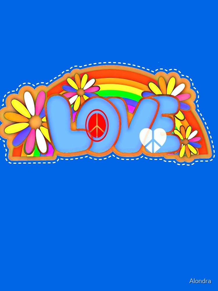 Love Retro Peace Sign Hippy Art by Alondra