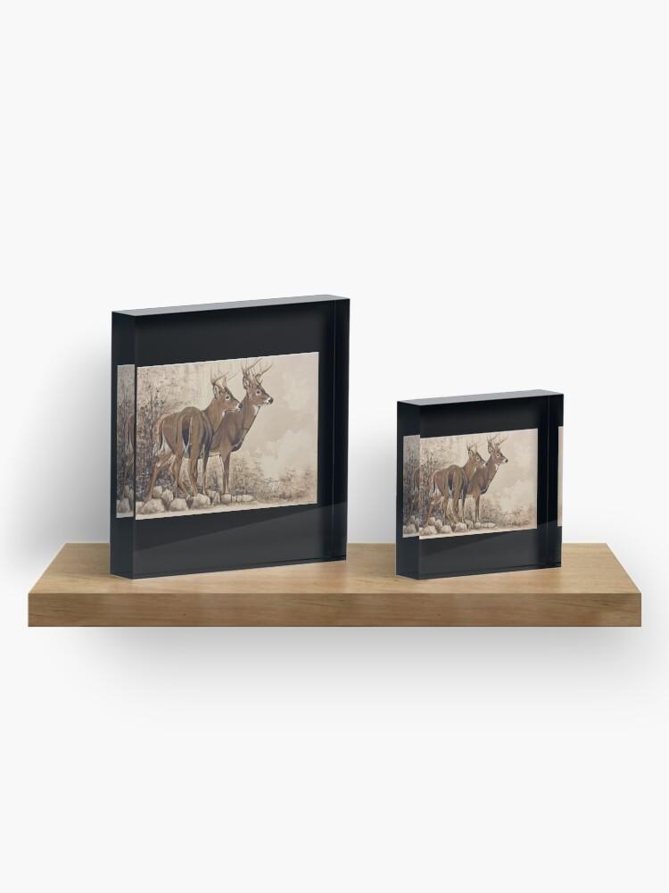Alternate view of Fall Bucks  Acrylic Block
