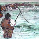 Fishin', Hopin', Prayin' (Mixed Media) by Niki Hilsabeck