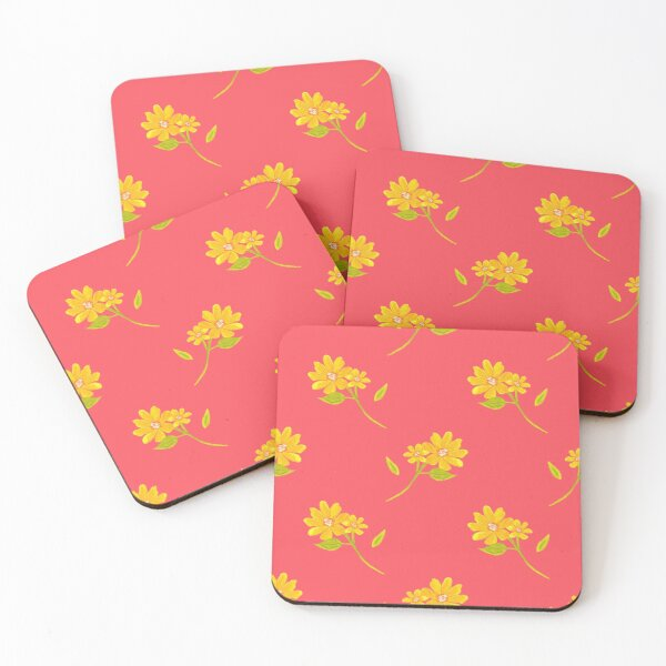 sweet spring yellow wild flowers Coasters (Set of 4)