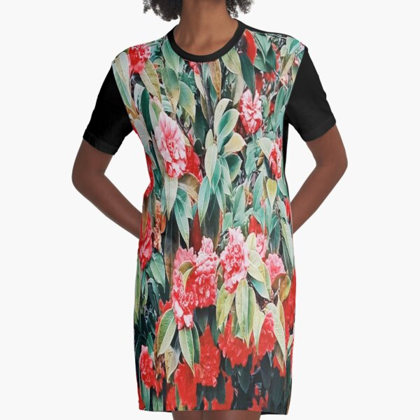 Pink and Red Spring Roses Graphic T-Shirt Dress