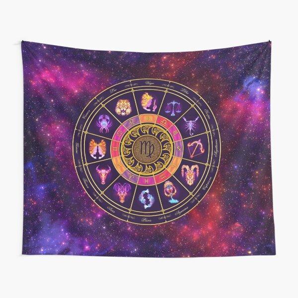Virgo Zodiac Lightburst - Circle Tapestry