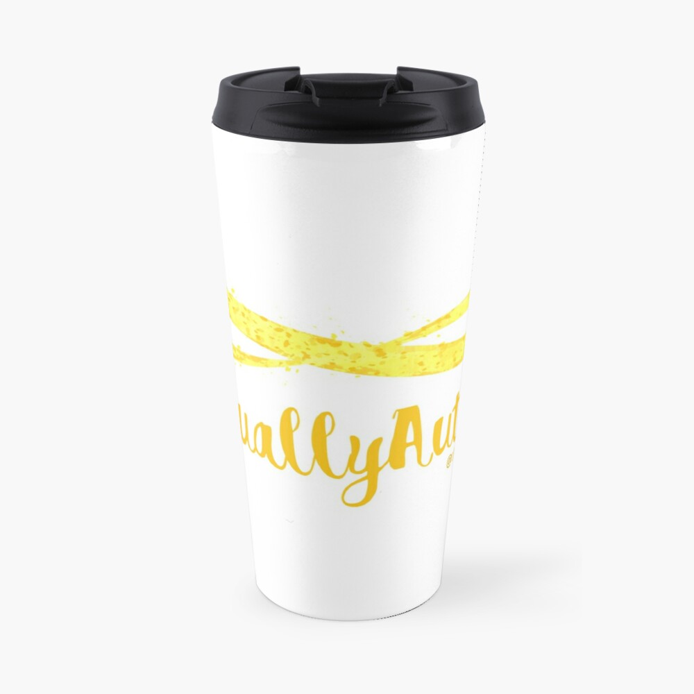 The Articulate Autistic Gold Infinity Logo Travel Mug