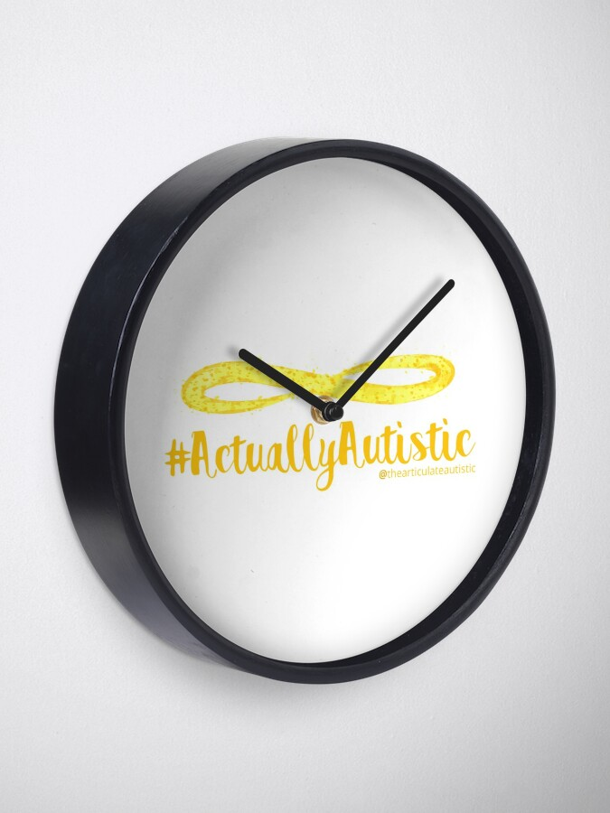 Alternate view of The Articulate Autistic Gold Infinity Logo Clock