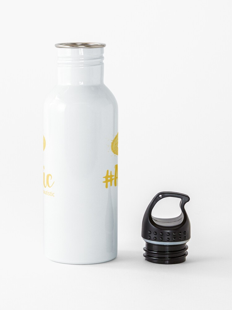 Alternate view of The Articulate Autistic Gold Infinity Logo Water Bottle