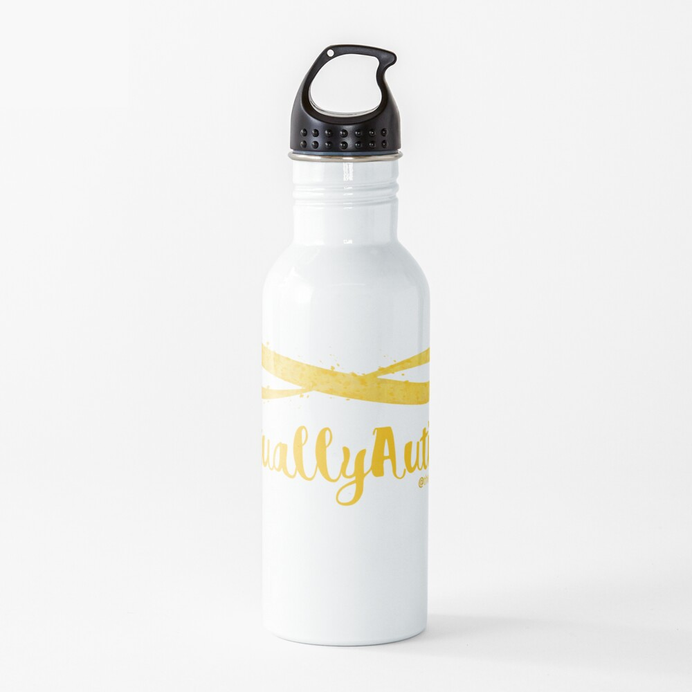 The Articulate Autistic Gold Infinity Logo Water Bottle