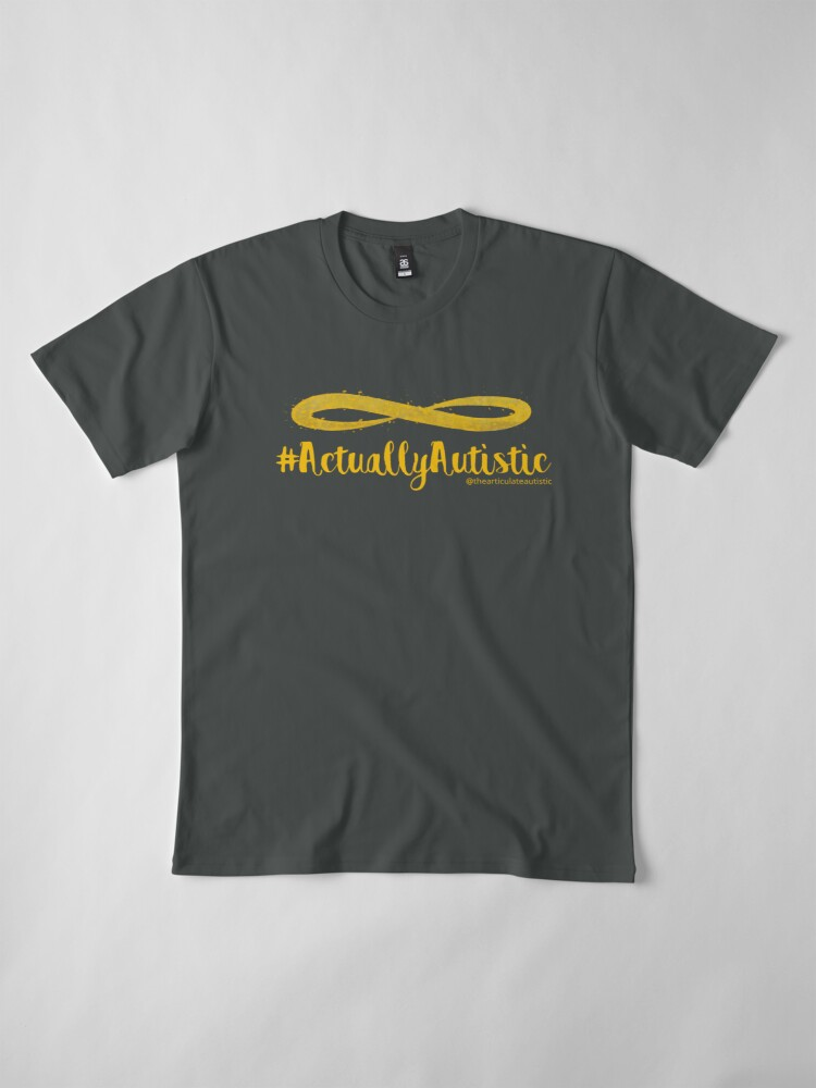 Alternate view of The Articulate Autistic Gold Infinity Logo Premium T-Shirt