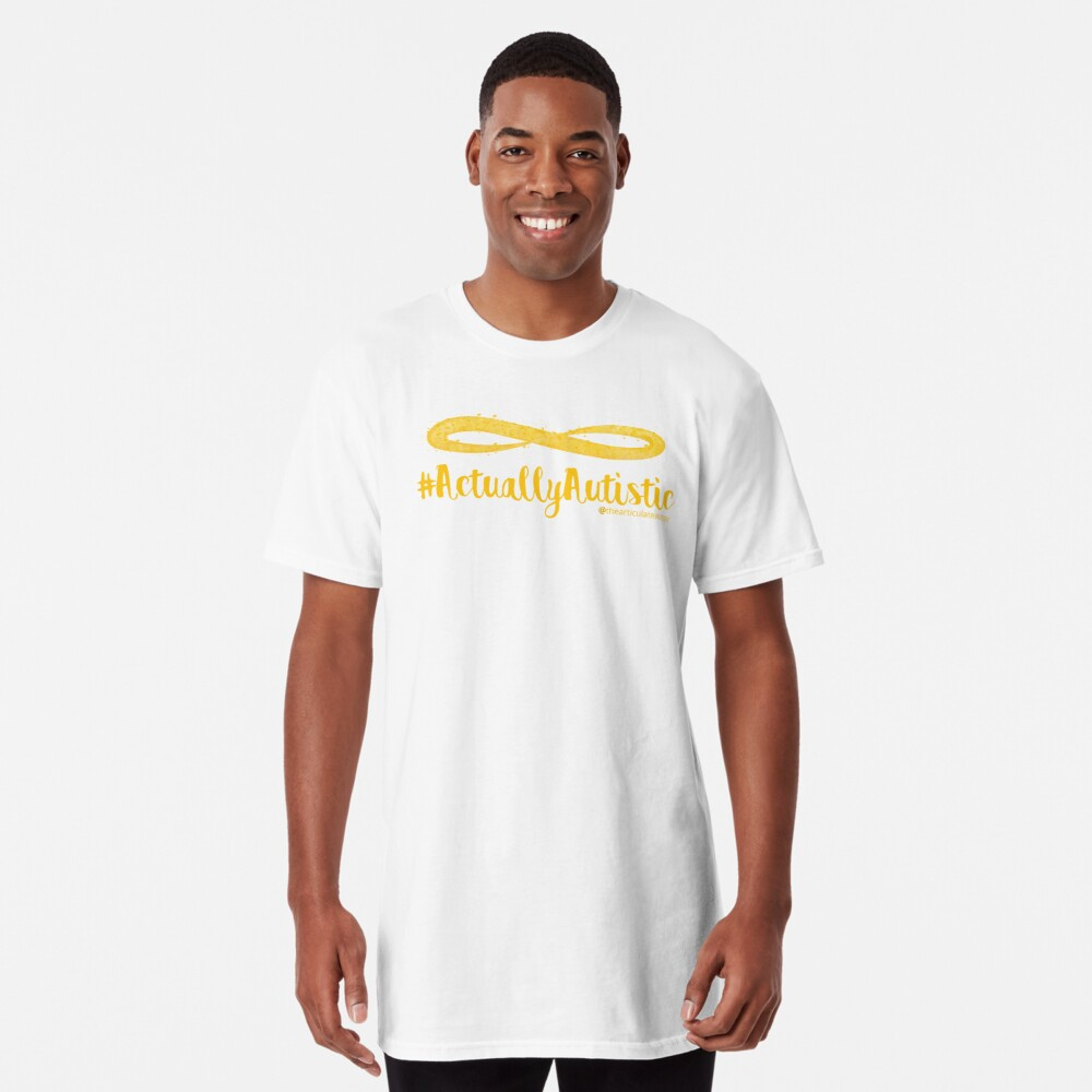 The Articulate Autistic Gold Infinity Logo Long T-Shirt