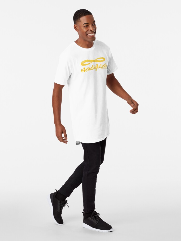 Alternate view of The Articulate Autistic Gold Infinity Logo Long T-Shirt