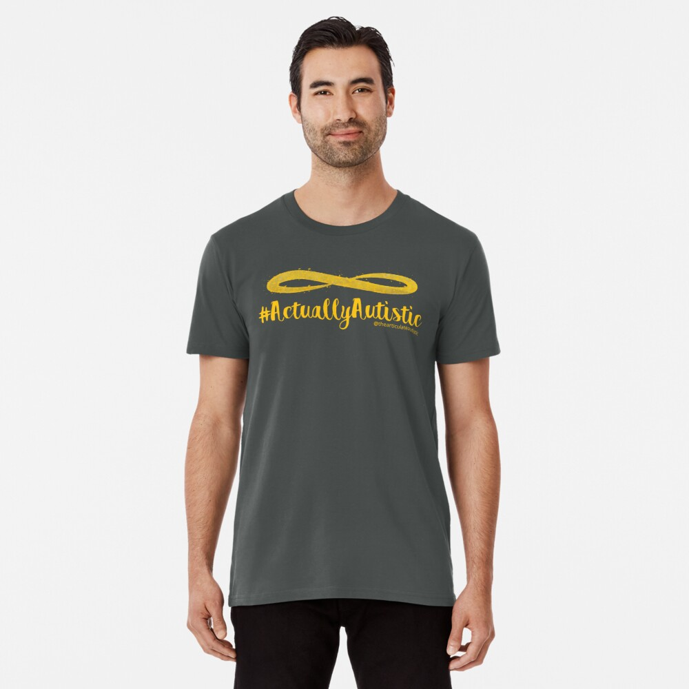 The Articulate Autistic Gold Infinity Logo Premium T-Shirt