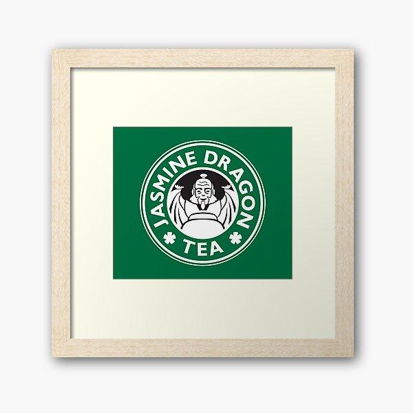 Jasmine Dragon, Uncle Iroh's Tea Shop: Avatar Starbucks Parody (Green) Framed Art Print