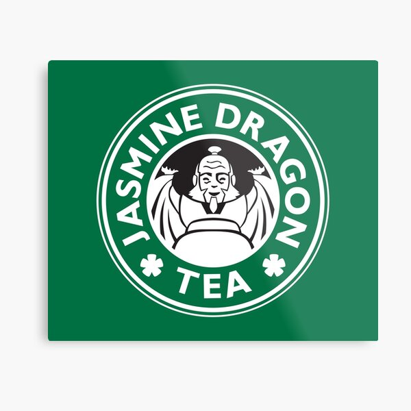 Jasmine Dragon, Uncle Iroh's Tea Shop: Avatar Starbucks Parody (Green) Metal Print