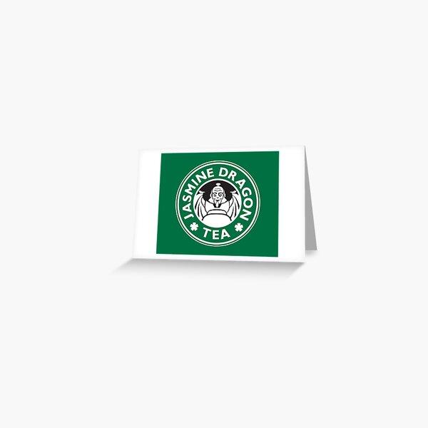 Jasmine Dragon, Uncle Iroh's Tea Shop: Avatar Starbucks Parody (Green) Greeting Card