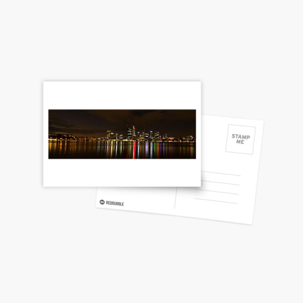 Perth CBD Skyline at night Postcard