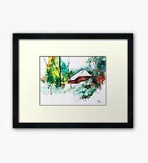 House in greens 1 Framed Print