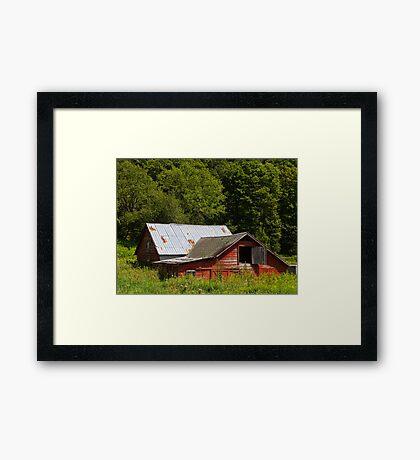 Sinking Red Barn Framed Print