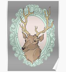 Deerhead on Purple Background Poster
