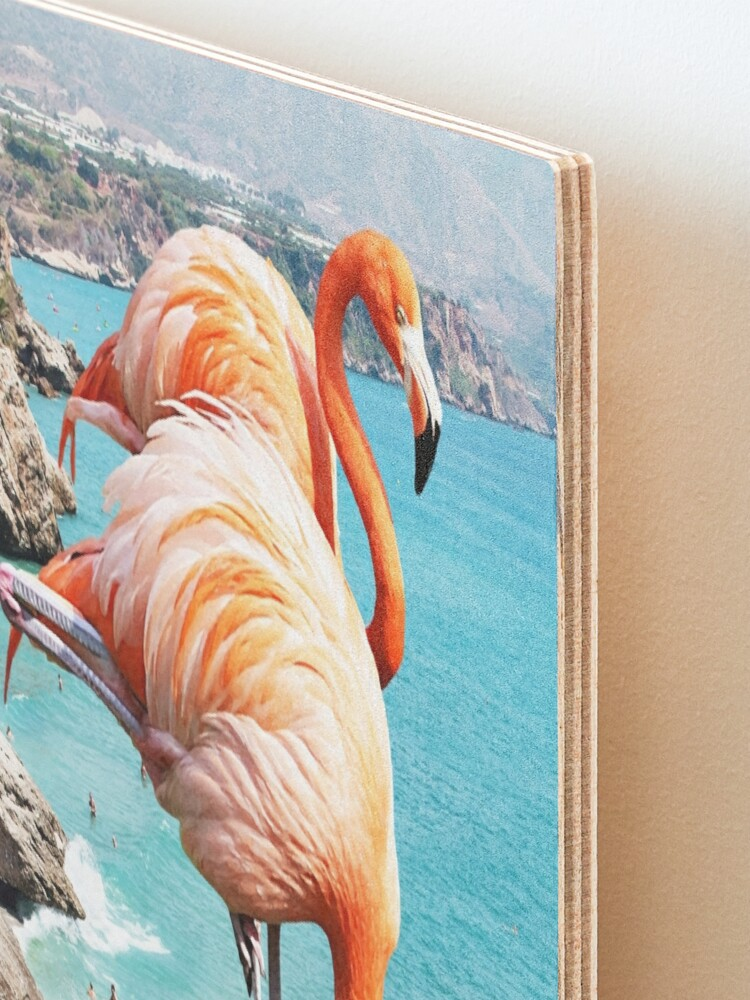 Alternate view of Flamingos on the Beach #redbubble #decor Mounted Print