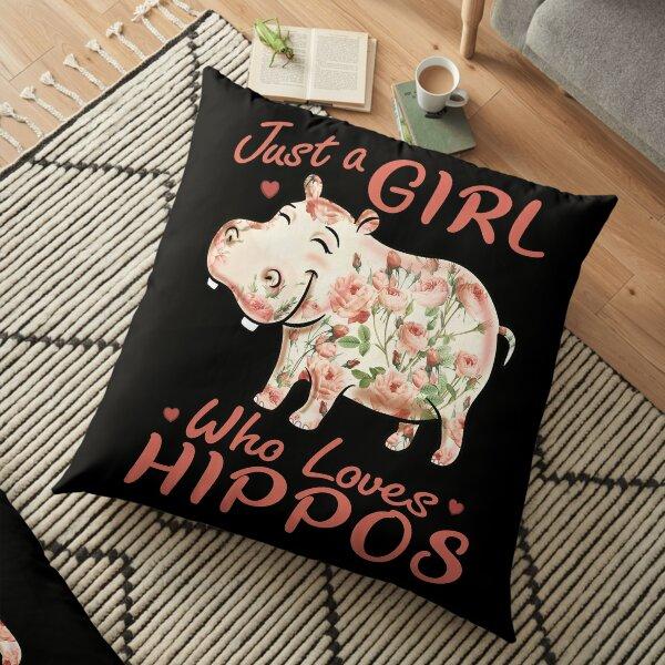 Juste une fille qui aime les hippopotames Fleur Hippopotame Rose Coussin de sol