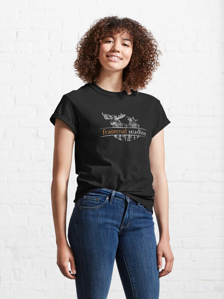 Alternate view of Fraternal Studios Logo - White on Black Classic T-Shirt