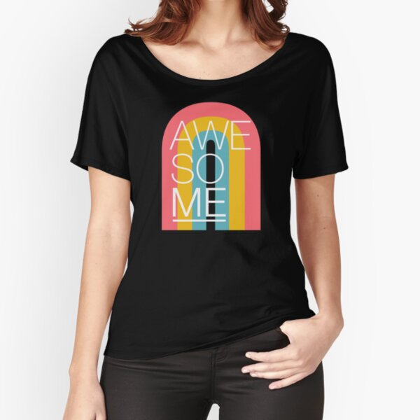 Awesome ME Rainbow Black Relaxed Fit T-Shirt