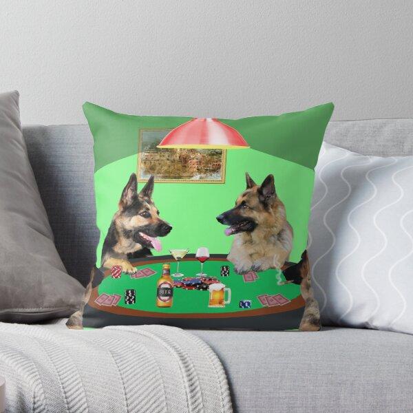 German Shepherd dogs Playing Poker Throw Pillow