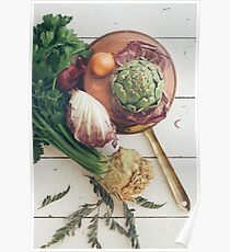 Assorted Vegetables With Copper Pan Poster