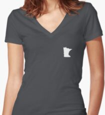 Minnesota Over heart Women's Fitted V-Neck T-Shirt