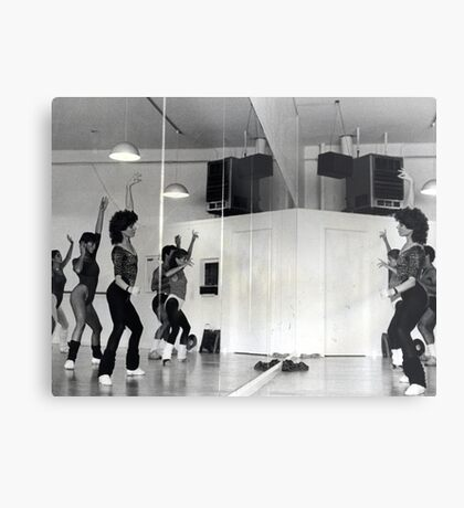 Reflection of Aerobics Class In The Mirror Metal Print