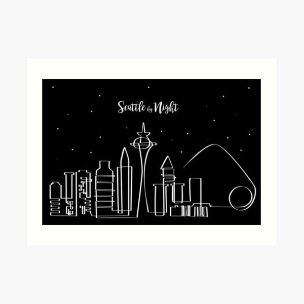 Skyline de Seattle de noche Lámina artística