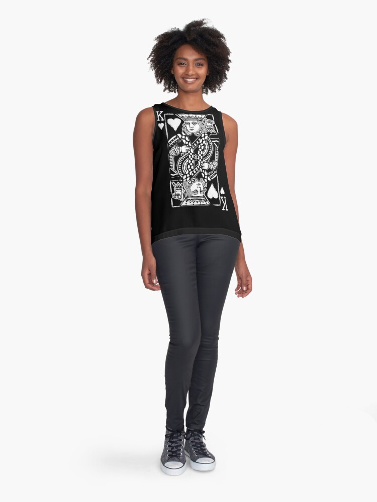 Alternate view of King of Hearts Painted Playing Card Sleeveless Top
