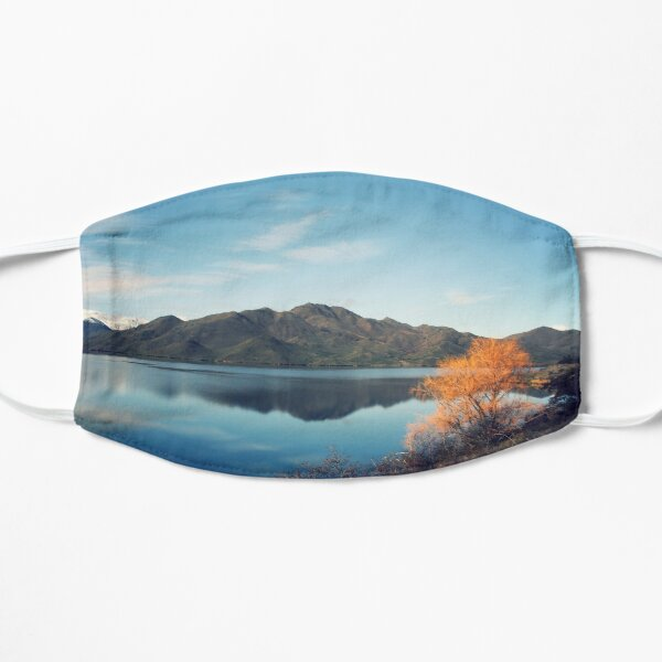 New Zealand mountains reflected in a lake. Mask