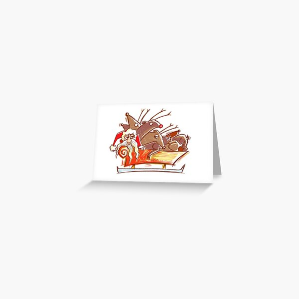 Santa and his sleigh full of lazy Reindeer Greeting Card