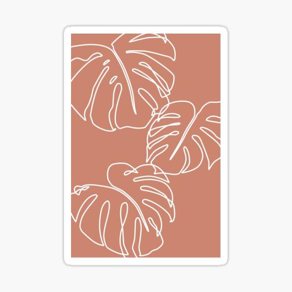 Terracotta tropical leaves line art Sticker