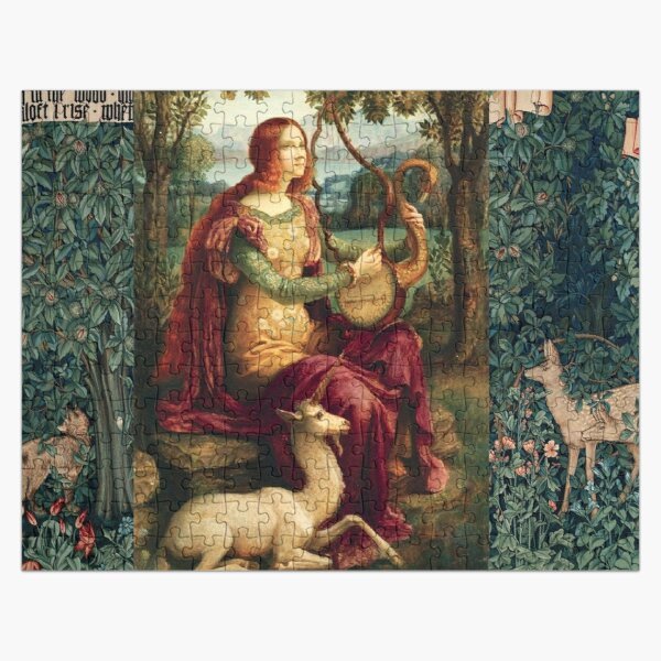 UNICORN AND LADY PLAYING LYRA ,FOREST ANIMALS, FOX ,DOES  IN GREEN FLORAL  Jigsaw Puzzle