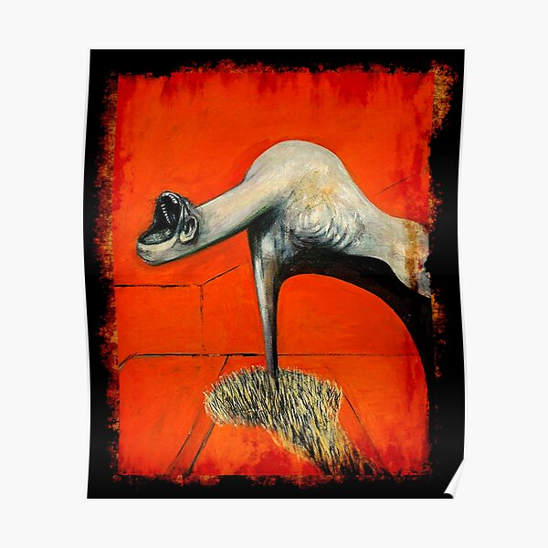 Figure at base of crucifixion Francis Bacon painting art lover artist gift t shirt or mask Poster
