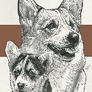 Welsh Corgi Father & Son by BarbBarcikKeith