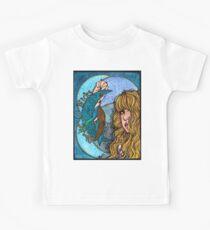 Türkis Mond Kinder T-Shirt