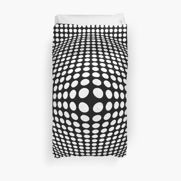 Illusion d'optique de style Victor Vasarely noir et blanc Housse de couette