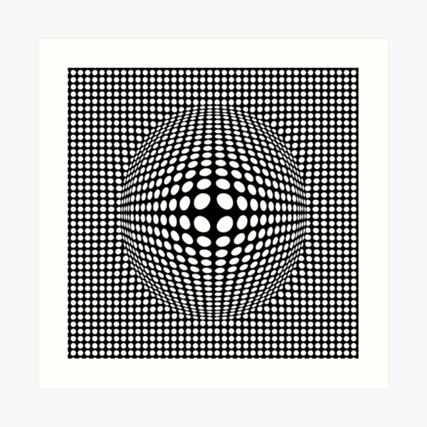 Black And White Victor Vasarely Style Optical Illusion Art Print