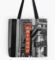 Red Chicago Theatre Sign Black and White Chicago Photography Tote Bag
